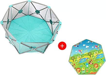 Baby Playpen Portable  Playpens for Babies  heptagon Infant Play  Playpen Infant Play Playpen with Storage Bag  Durable Fold Playpen  Portable Playard for 0-4 Ages