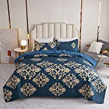 Kindred Home 3 Piece Quilt Set Royal Italian Baroque Scroll Medallions Soft Microfiber Lightweight Coverlet Bedspread Summer Comforter Set Bed Cover Blanket for All Season (Queen)