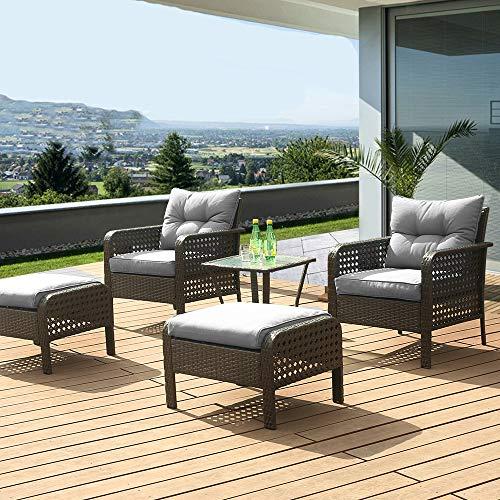 eclife Outdoor Patio Furniture Sets Rattan Sofa 5 PCS Rattan Chair Wicker Conversation Sofa Set Black Sofa Couch Furniture Set Removable Cushions W/Ottoman, Tea Table (Grey)