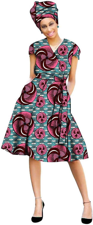 African Dresses for Women Ankara Aline Clothing Clothes Dashiki Girl Floral Wax Ankara+Headwrap 35×45 inch
