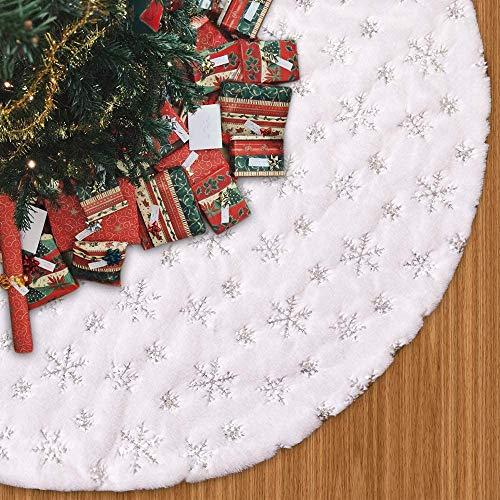 Gshy Weihnachtsbaumdecke Weißer Flaum Schneeflocke Christbaumdecke Rund Weihnachtsbaum Dekoration Baumdecke Weihnachten Tannenbaum Decke Decke für Weihnachtsbaum Christbaum Rock 120CM (Silber)