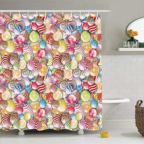 N/X DuschvorhangBunte Duschvorhang Spirale Zucker Candy Süßigkeiten Lolly Pops Dessert Spaß Mädchen Kinder Kinderzimmer Thema Stoff Badezimmer Dekor