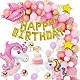 Unicornio Decoracion Cumpleaños Niña,Globos Fiesta Decoracion Cumpleaños Niña con Globos de Unicornio,Globos de Pony,Corona,Pancarta de Feliz Cumpleaños Para Decoración de Cumpleaños de Niñas Pequeñas