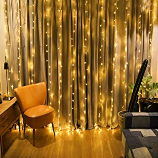 Qunlight Star 304 LED 9.8ftx9.8ft 30V 8 Modes with Memory Window Curtain String Lights Wedding Party Home Garden Bedroom Outdoor Indoor Wall Decorations(Warm White)