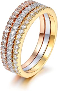 Serend 18k Rose/Yellow Gold/Platinum Plated CZ Simulated Diamond 3pcs Stackable Eternity Rings Set Size 7