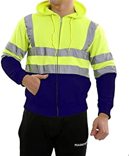 RIDDLED WITH STYLE Boys Hi Viz Vis Pullover Sweatshirt Mens Zip Up Hooded Hoodie Fleece Jacket