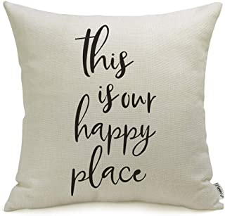 "Best Meekio Farmhouse Pillow Covers with This is Our Happy Place Quotes 18"" x 18"" Farmhouse Decor Housewarming Gifts Review"