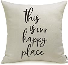 """Meekio Farmhouse Pillow Covers with This is Our Happy Place Quotes 18"""" x 18"""".."""