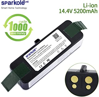 SPARKOLE Replacement Battery for Roomba 900 800 700 600 500 Series - 14.4V 5200mAh Xlife Extended Life Lithium Ion Battery Compatible with iRobot Roomba 960 690 675 985 980 890 880 870 860 780 770 595