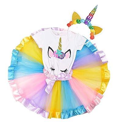 Girls Unicorn Rainbow Layer Tutu Skirts Horn T-...