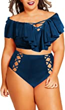 Sovoyontee Women Plus Size Ruffles High Waisted Swimsuit Bikini Sets Bathing Suit