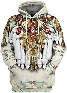 Iuhan Men Hoodie Blouse Sweatshirt 3D Printed Coat Long Sleeve Vintage Ethnic Style Sweater Warm Regular and Big Sizes Oversized Autumn Winter Jacket