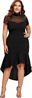 Women's Plus Size Mesh Frill Ruffle Round Neck Pencil...
