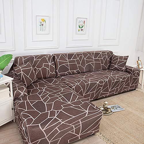 Funda de sofá de Sala de Estar Impresa en Forma de L Funda Protectora de sofá Funda de sofá de Esquina elástica a Prueba de Polvo A12 4 plazas