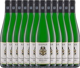 VINELLO 12er Weinpaket Weißwein - Laumersheimer Kapellenberg Riesling 2020 - Knipser mit Weinausgießer | trockener Weißwein | deutscher Wein aus der Pfalz | 12 x 0,75 Liter