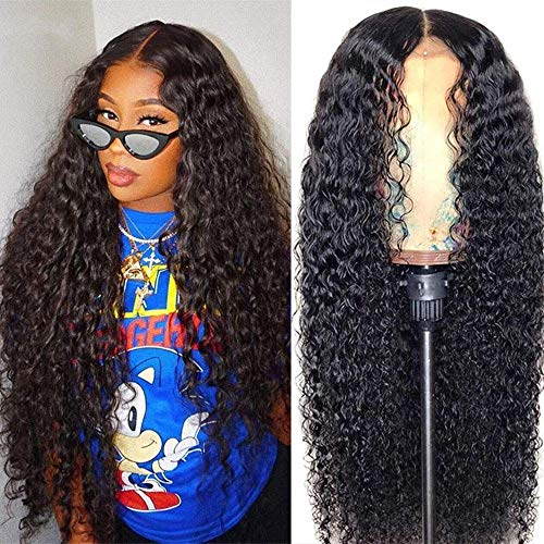 8-40Inch Middle Part Wig Curly Lace Front Human Hair Wigs for Black Women 10A Long Remy Curly Lace Front Wigs Human Hair Pre Plucked with Baby Hair T Part Wig (18inch, Middle part wigs)