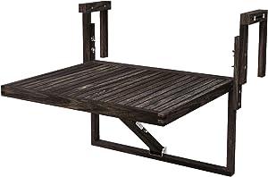 Interbuild Toronto Balcony Folding Deck Table, Outdoor Hanging Railing Bar Table, FSC Acacia Wood, 28 x 23 Inches, Adjustable, Espresso