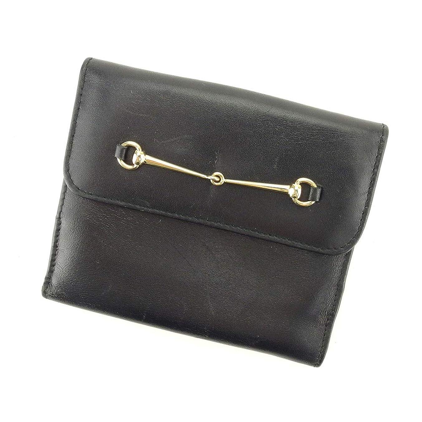 はねかける勤勉なパス[グッチ] GUCCI Wホック 財布 二つ折り 財布 レディース メンズ ホースビット 中古 L2726