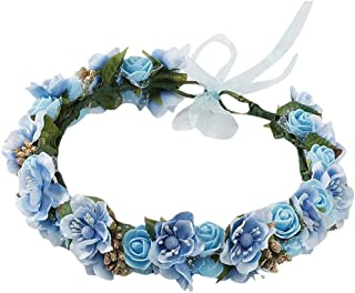NEEKEY Bridal Girls Boho Rose Floral Crown Wreath Wedding Flower Headband Headpiece Hairpin Hair Jewelry
