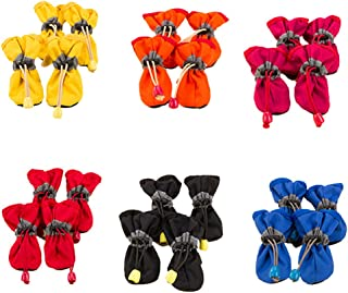 Jocestyle Waterproof Dog Shoes Rain Snow Booties Waterproof Rubber Anti-Slip Shoes for Small Dog Puppy 1 Set(Color Random)