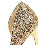Lady Party Wedding Scarpins Talons Shoes - Gold Sliver, 6.5