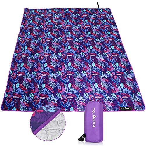 Tolaccea - Coperta da picnic, 145 x 200 cm, impermeabile, antisabbia, ideale per picnic, in pile termoisolante, impermeabile, lavabile