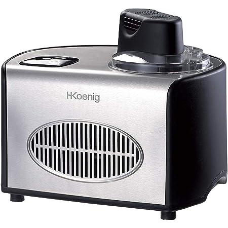 Sorbetière Turbine à Glace Professionnelle HF250 H.Koenig-Machine à glace électrique 1.5L 150 W Réfrigérante & maintien du froid–Préparation rapide–Compresseur-yaourt glacé, sorbet et crème glacée
