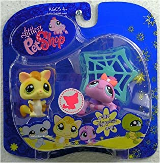 Littlest Pet Shop Happiest Pet Pairs Portable Collectible Gift Set - Sugar Glider (#990) and Purple Spider (#991) with Spider Web
