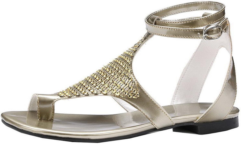 AllhqFashion Women's Solid PU Low-Heels Buckle Split-Toe Sandals, FBULD013266