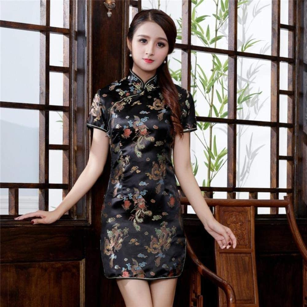 RSM Chinese Qipao Classic Women Satin Cheongsam Oriental Bride Wedding Dresses 2020 New Evening Party Gown,Black B,XXL