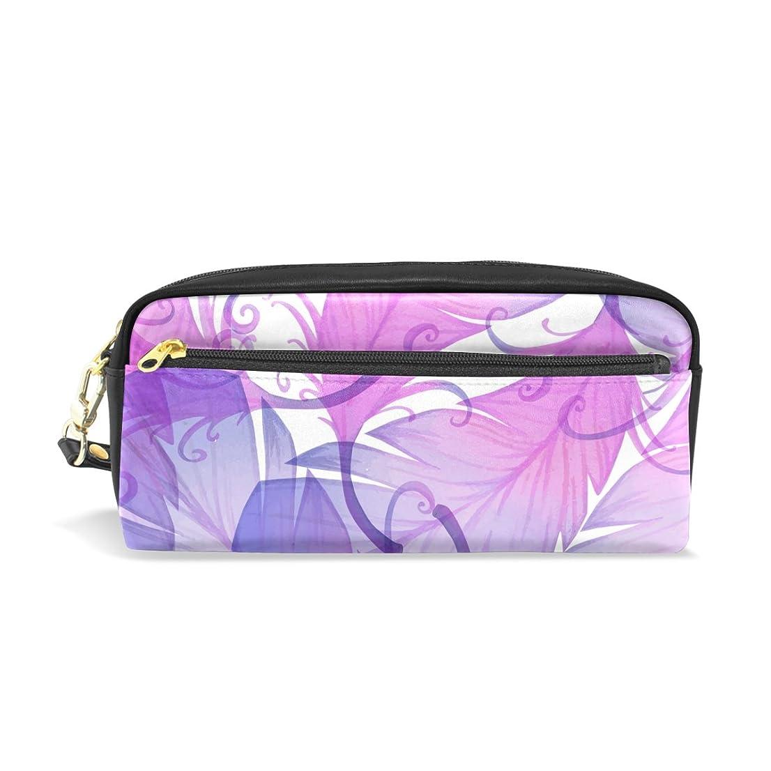 パンたくさん資源AOMOKI ペンケース 化粧ポーチ 小物入り 多機能バッグ レディース 羽 紫