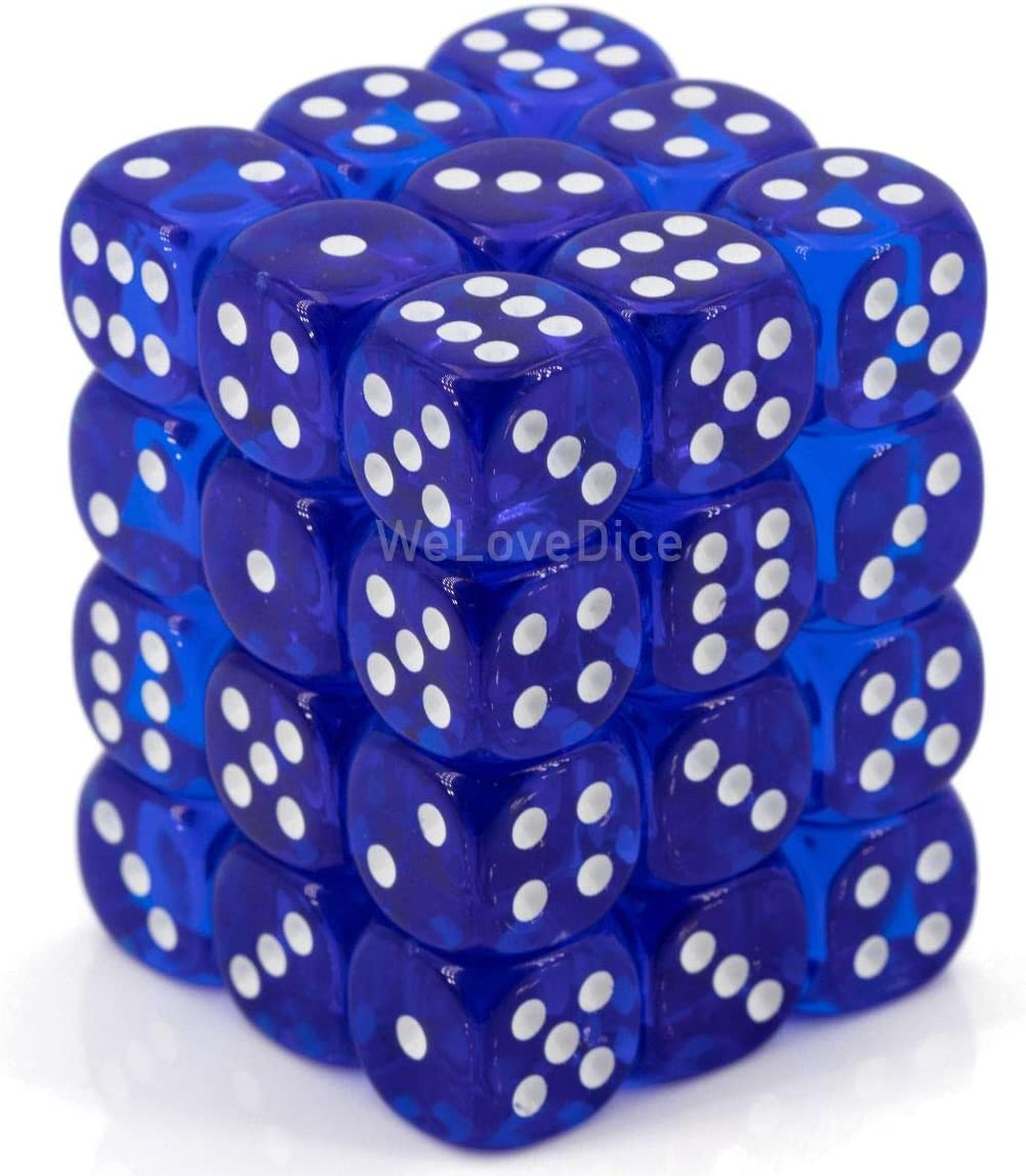Chessex Dice d6 Sets: Blue with - White Six Sid Translucent Year-end annual account 2021 spring and summer new 12mm