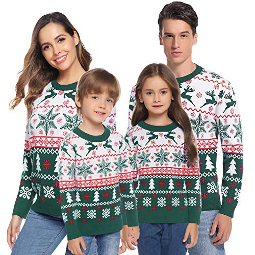 Aibrou Damen Strickpullover Weihnachten Hässlicher Pullover Rundhals Langarm mit Rentier Muster Grün XL