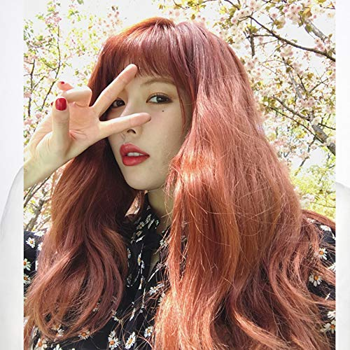 zvcv Wig Korean Wig Orange red Long Curly Hair air Fringe Long Hair Middle Fluffy Realistic Online Celebrity