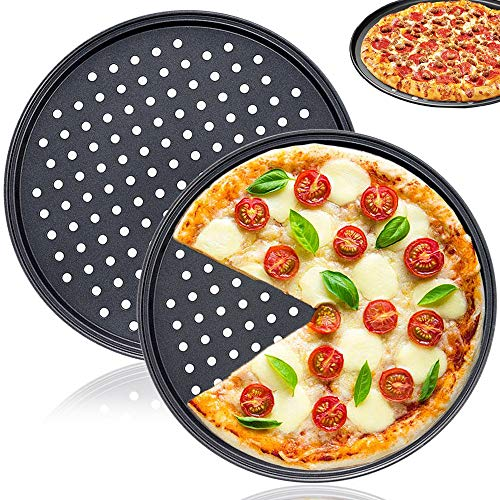 2 PCS 12 Inch Tray Pizza Pan with Holes,Round Pizza Crisper Pan,Non-Stick Pizza Baking Pan for Home Kitchen Oven Baking