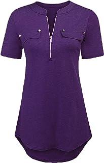 1ad555b255389 LaLaLa Damen T-Shirt Sommer V-Ausschnitt Top Bluse Einfarbig Kurzarm  Oberteil Tunika Tops