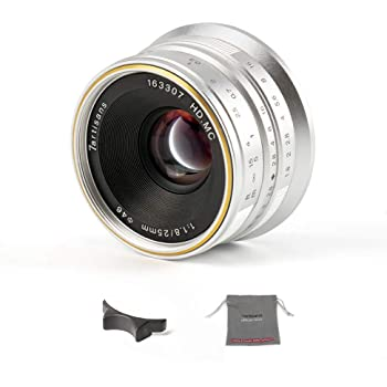 7artisans F1.8 - Lente fija de enfoque manual para cámaras Olympus y Panasonic Micro Four Thirds MFTM4/3, 25 mm, color plateado: Amazon.es: Electrónica