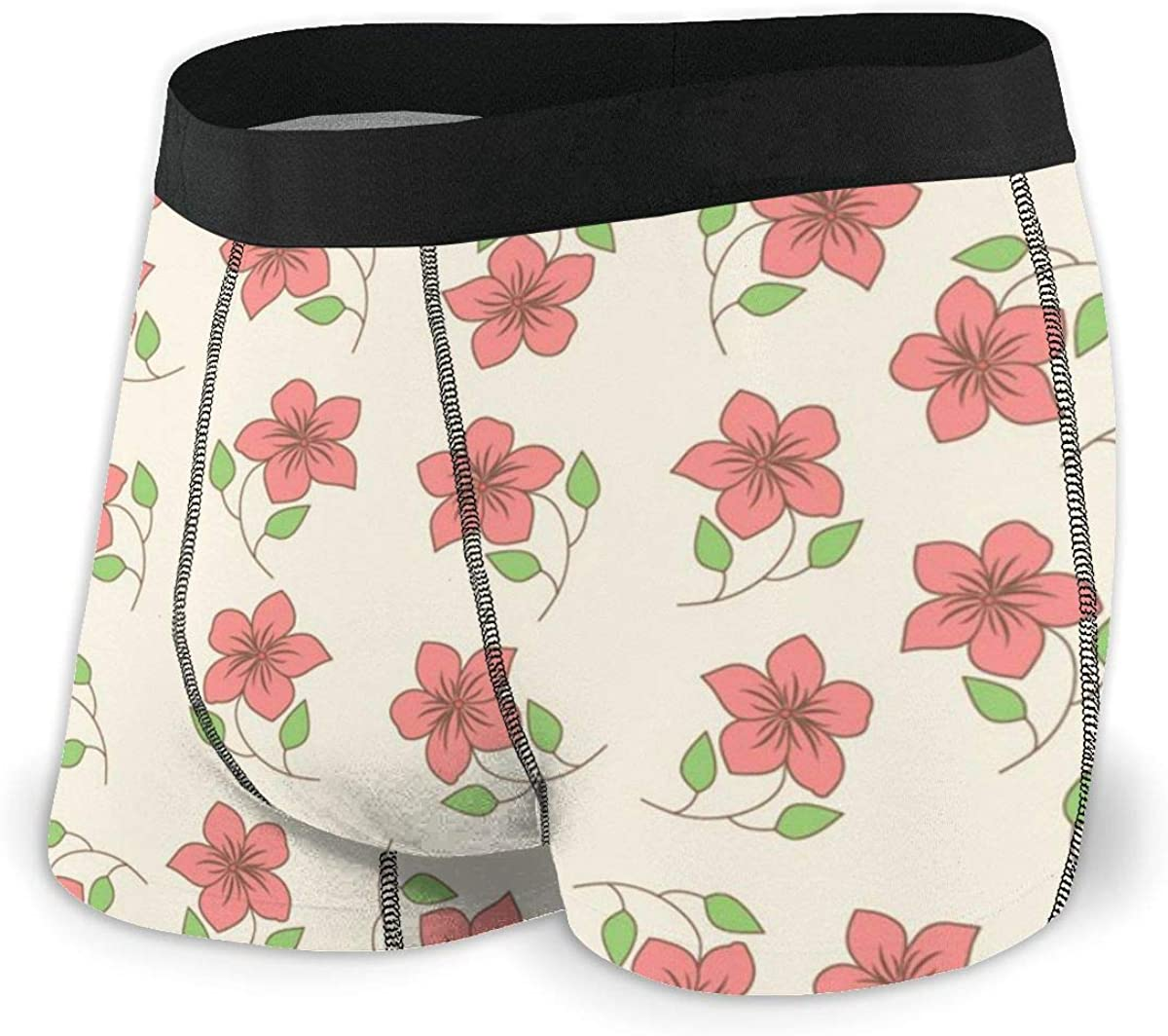 Mens Boxer Briefs Red Floral Seamless Trendy Breathable Underwear