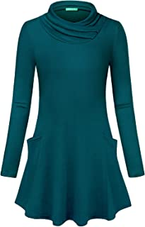 Kimmery Woman Long Sleeve Cowl Neck Double Pockets Loose Fitting Tunic