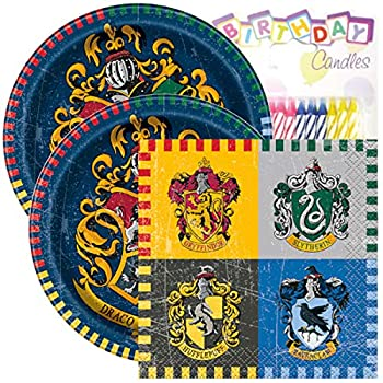 """Harry Potter Birthday Party Pack – Includes 7"""" Paper Plates & Beverage Napkins Plus 24 Birthday Candles – Serves 16"""