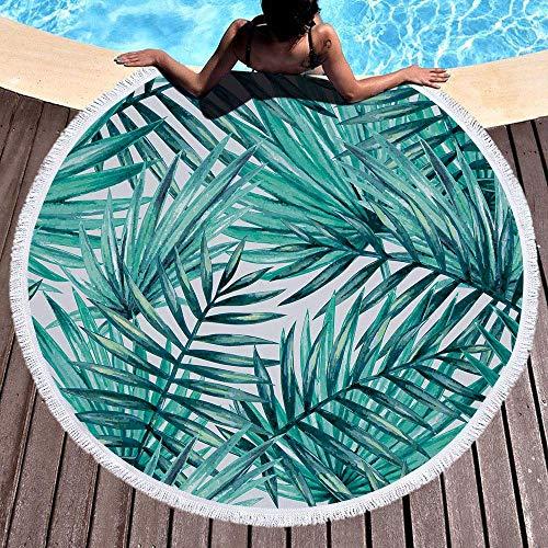 IcosaMro Round Beach Towel Tropical Palm Leaves Beach Blanket Large Roundie Lightweight Beach Towel for Kids Women Men Boy Girl, 59 Inch, Green