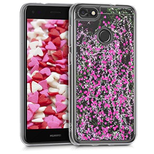 kwmobile Hülle kompatibel mit Huawei Y6 Pro (2017) / Enjoy 7 - Handyhülle - Handy Hülle Schneekugel Herzen Pink Transparent