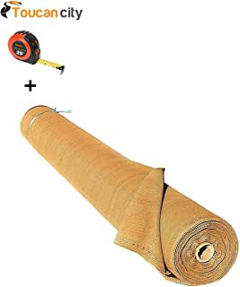 Toucan City Tape Measure and Boen ValueVeil 6 ft. x 50 ft. Wheat/Beige Privacy Fence Screen Netting with Reinforced Grommets PN-30057