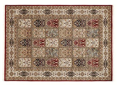 BADOHI BAKTHYARI echter klassischer Orient-Felder-Teppich handgeknüpft in rot-creme, Größe:...
