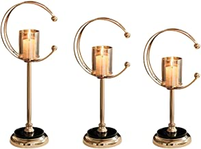 Candle Holders Set of 3 Pillar Candlesticks for Wedding/Dining Table Decorative Candle Holder,Golden (Excluding Candles) (...