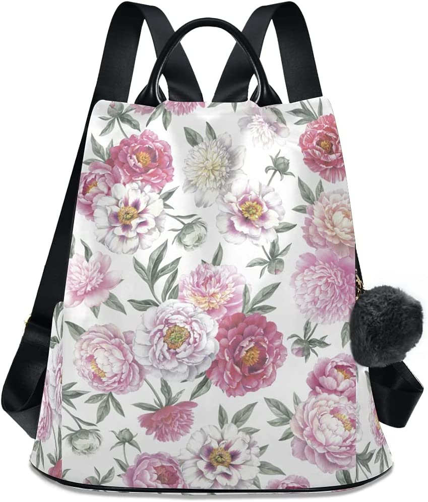 ALAZA Peonies New Orleans Mall Floral Vintage New Orleans Mall Backpack with Purse Adjustable Stra