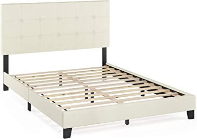 FURINNO Laval Button Tufted Upholstered Platform Bed - Queen (Linen)