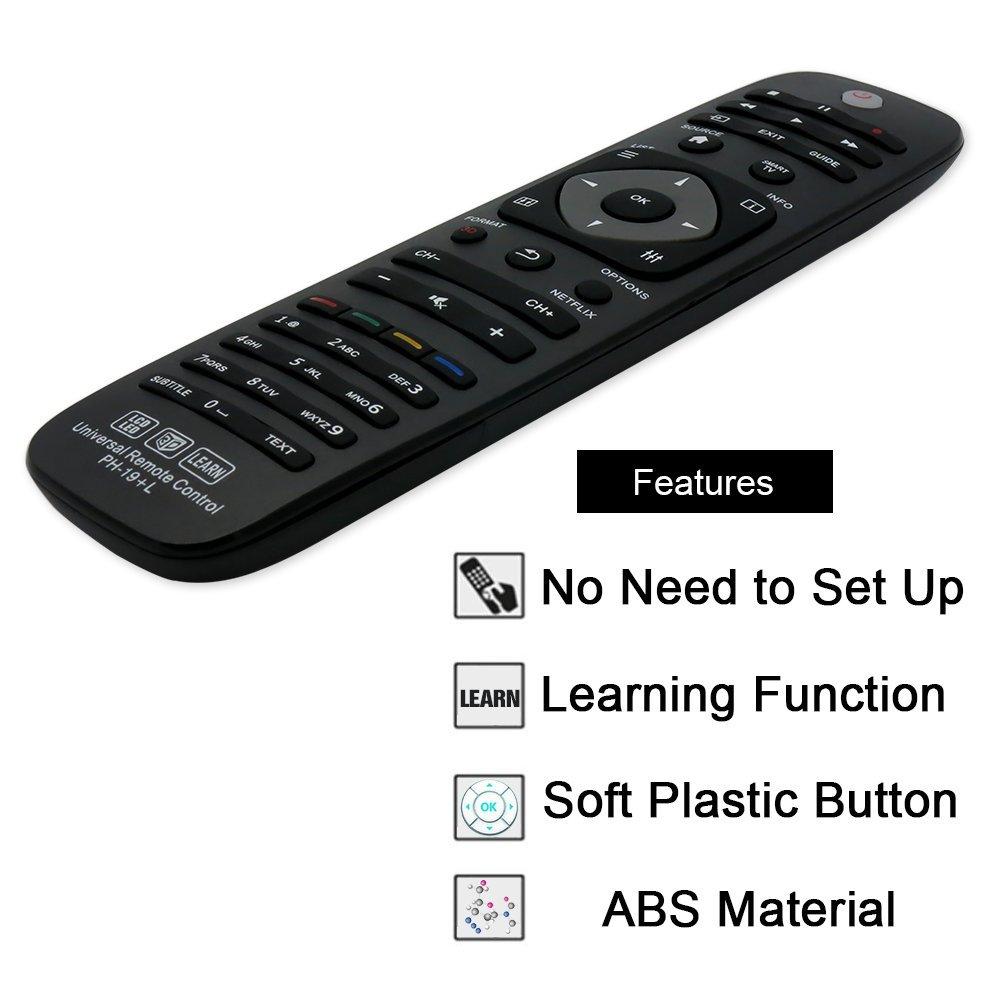 Grock mando a distancia universal ph-19 para casi todos los Marca de Philips TV/3d/Smart TV/LCD/LED/HDTV/Aprender, 32pfl4609 32PFL4909 40pfl4609 40pfl4909 43pfl4609 43pfl4909: Amazon.es: Electrónica