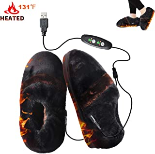 Heated Shoes GMAYOO Heating Slippers, Thanksgiving Gift Christmas Gift, Heat Up Slippers Cold Weather Shoes Comfortable Plush USB Electric Heating Slippers Shoes to Keep Feet Warm for Men Women