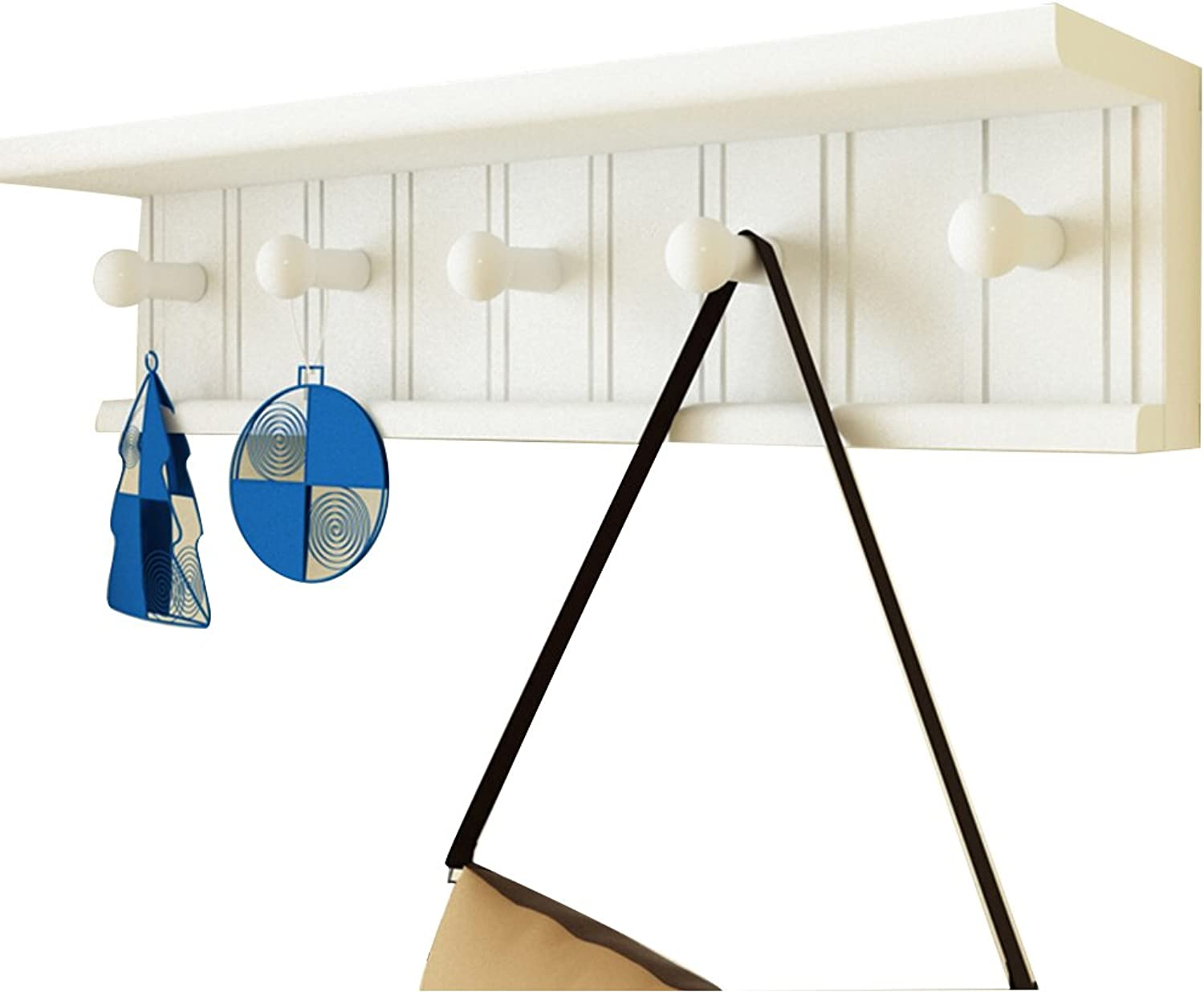 QIANGDA Wall Mounted Coat Rack Wooden Multifunction Clothes Hanging Hook On The Wall, 5 7 Hooks Optional (Size   60 x 16.5cm)
